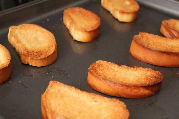 Baked Golden Brown French Bread Slices