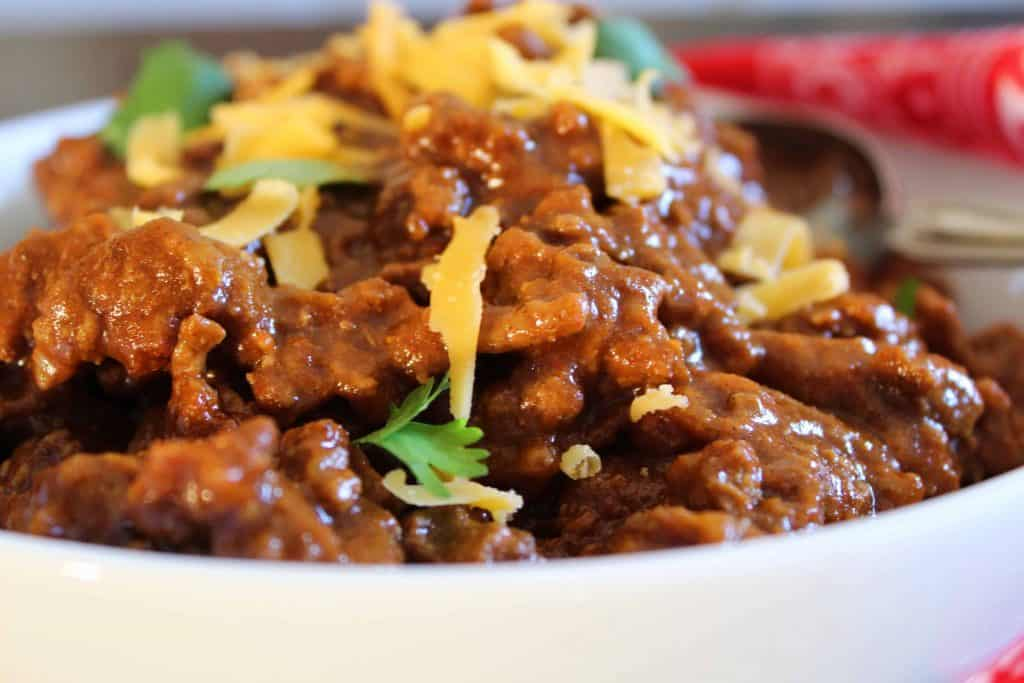 Close up of a bowl of Texas Chili