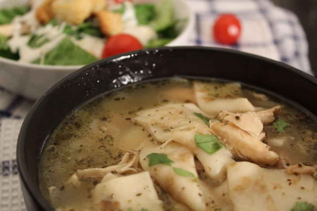 Chicken and Dumplings in homemade chicken broth