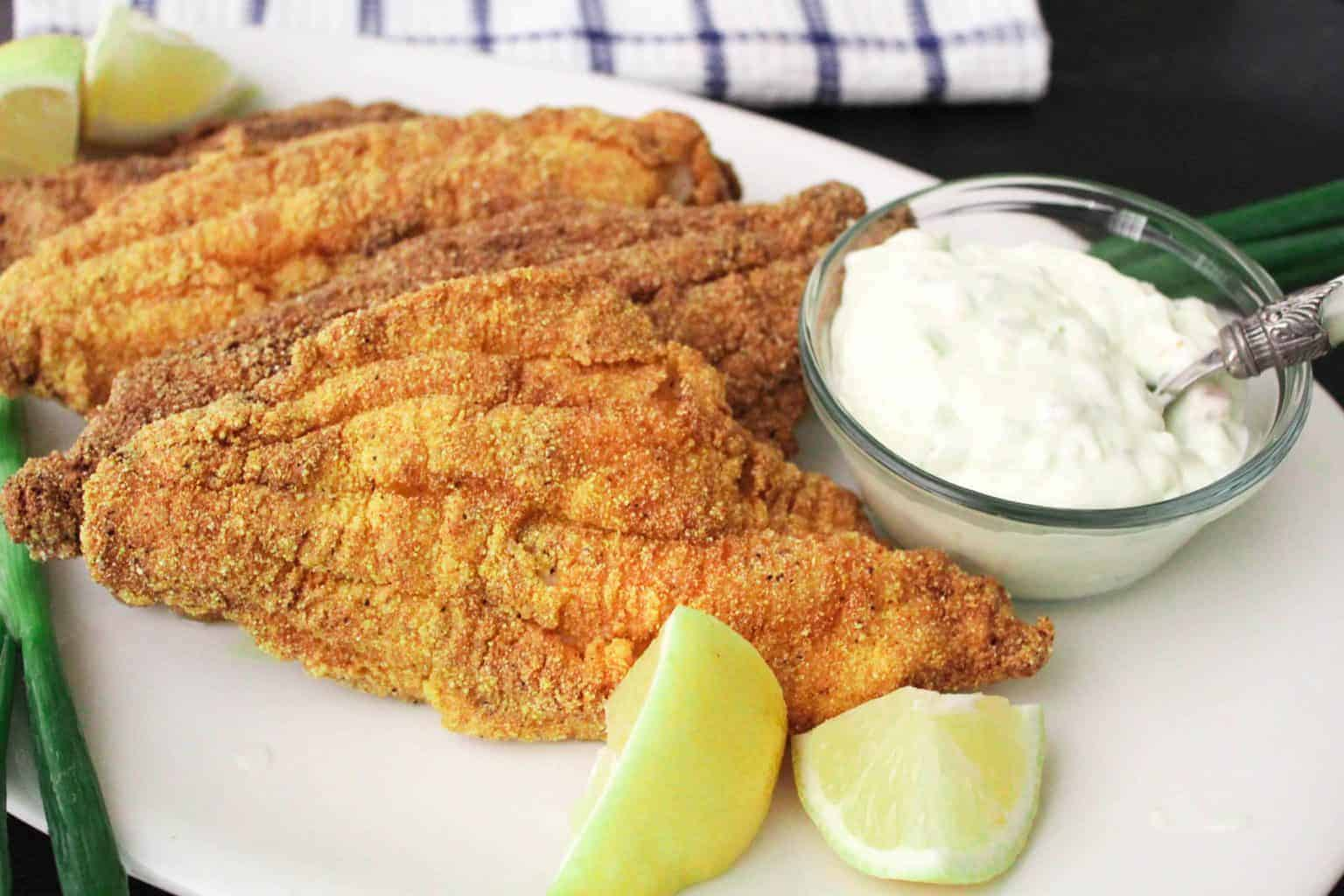 Fried Catfish Filets with lemon and tartar sauce on white plate