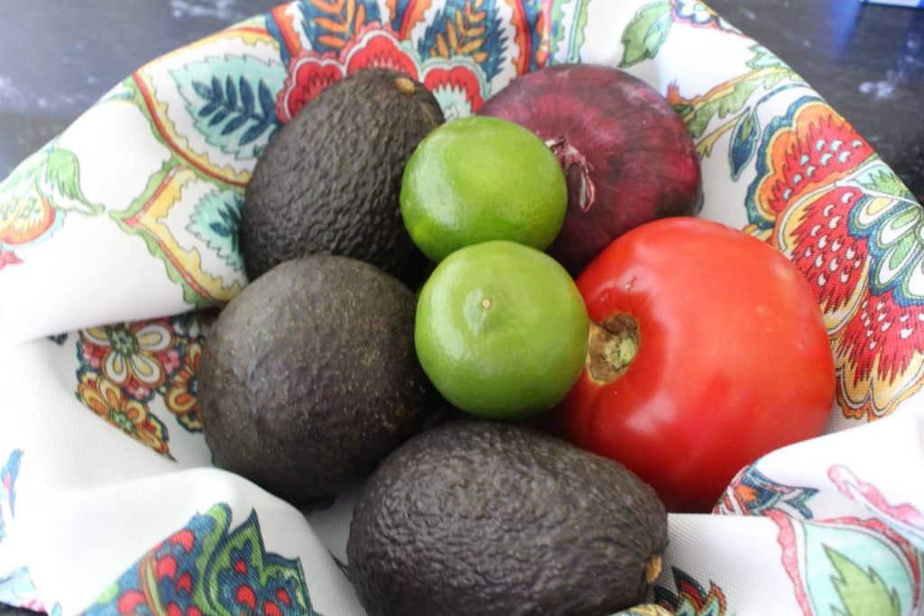 Avocado, Onion, Tomato and Lime make the perfect homemade guacamole