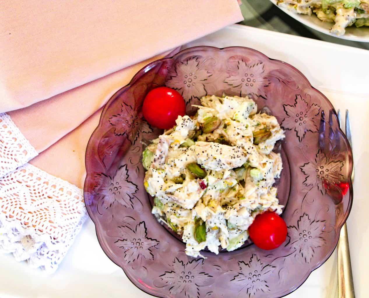 Pistachio Chicken Salad on plate