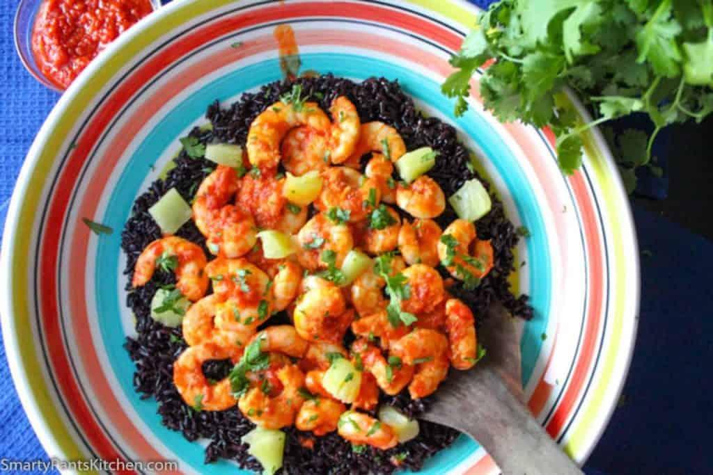 Harissa Shrimp with Black Rice