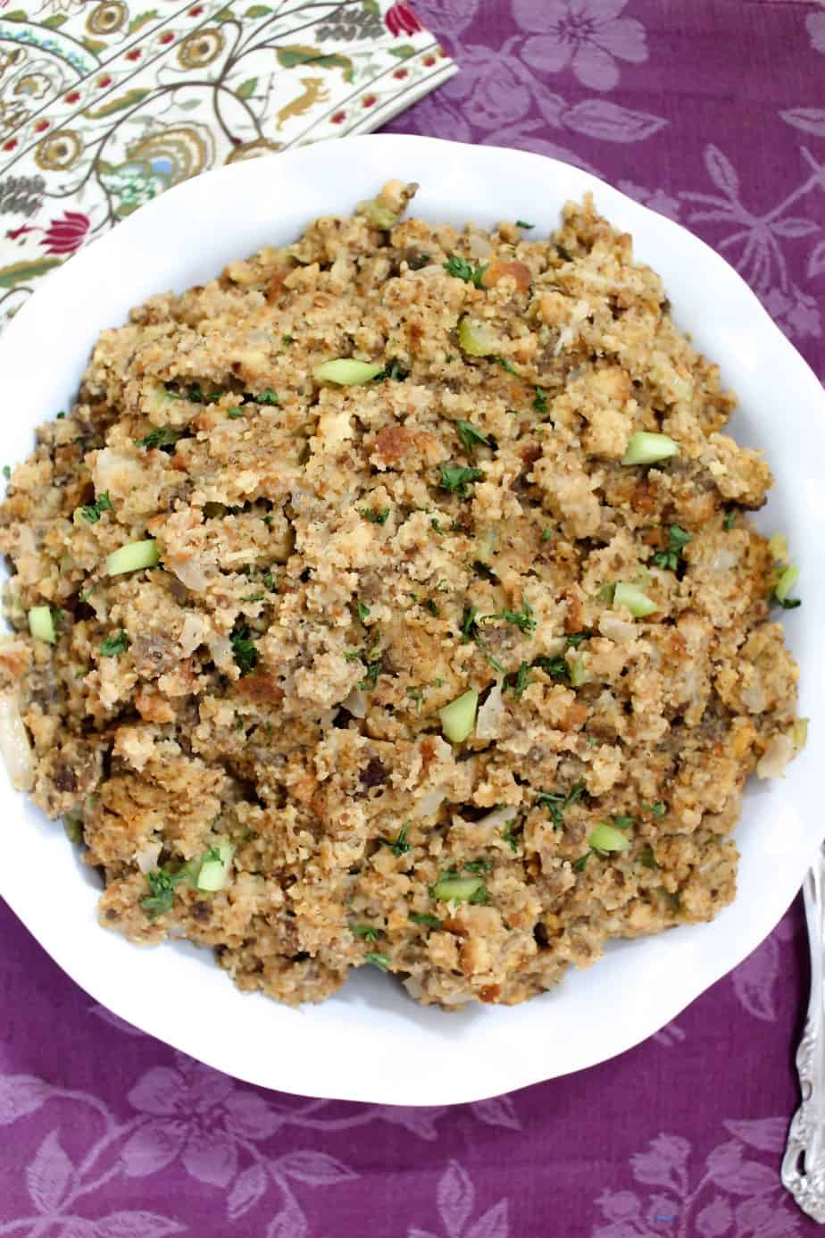 Round Bowl of Southern Cornbread Dressing