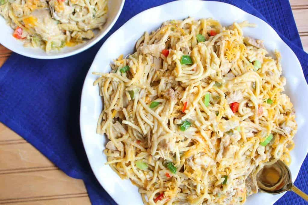 Cheesey, creamy chicken spaghetti casserole is a favorite comfort food