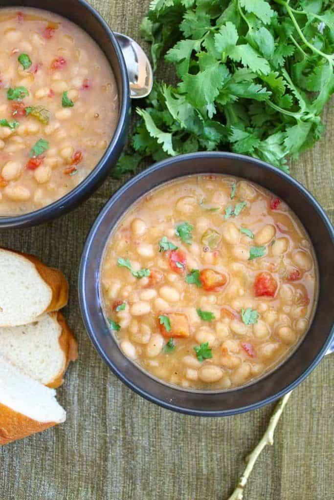 Southwestern Navy Bean Soup in a black bowl
