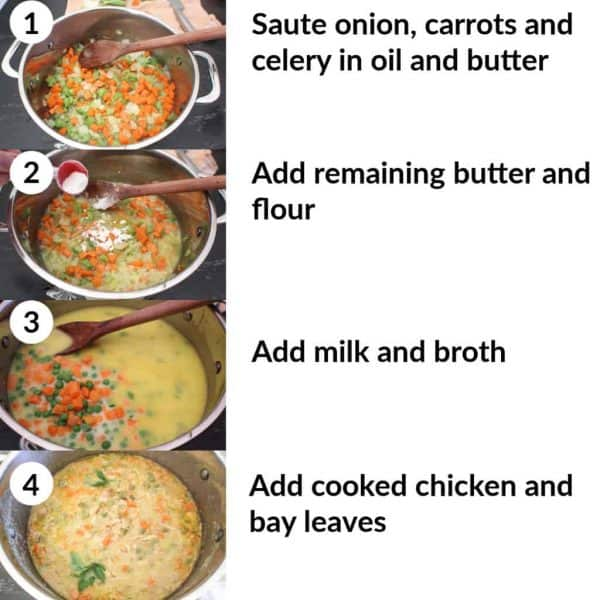 4 step by step images representing how to make chicken pot pie soup