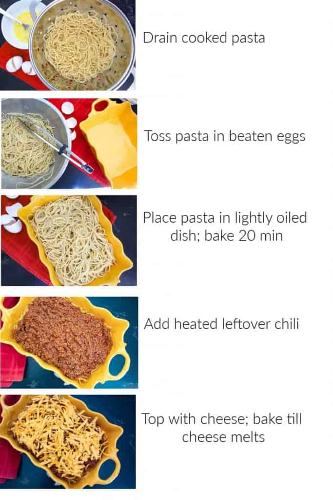 Visual step by step instructions how to make chili spaghetti pie