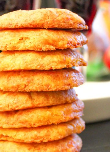 Cheese wafers stacked on counter top