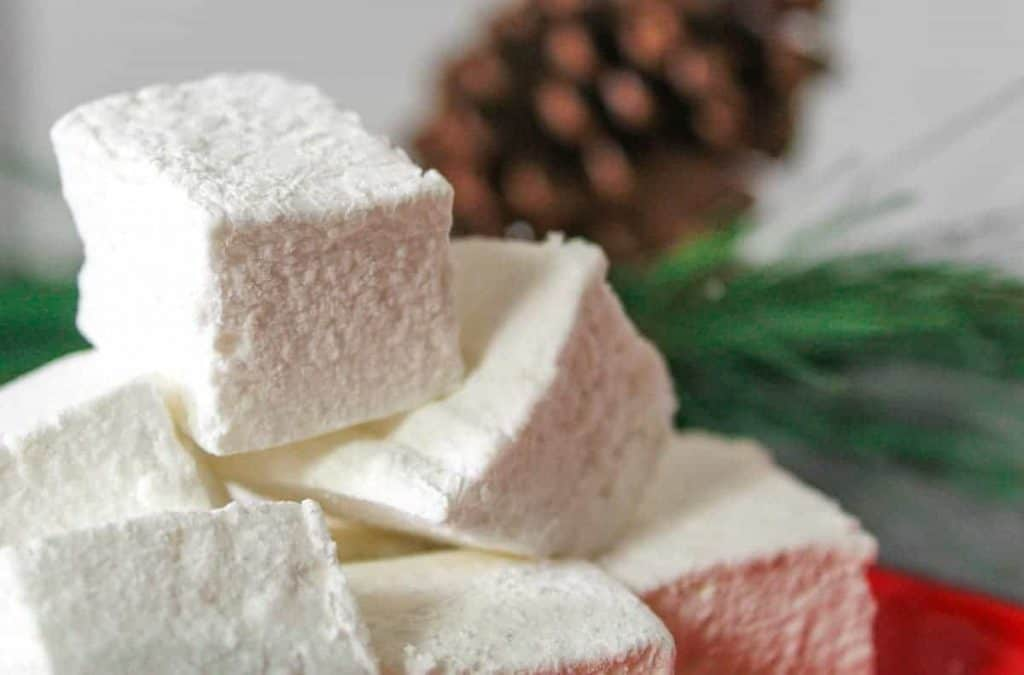 Close up image of cubed homemade marshmallows