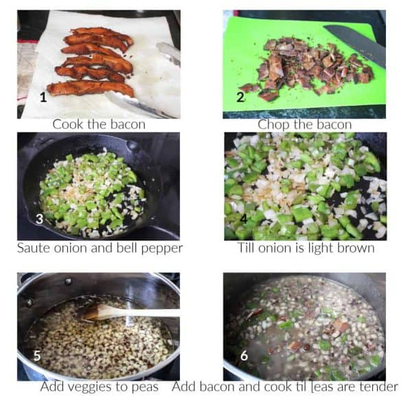 Collage of preparation steps for good luck black eyed peas