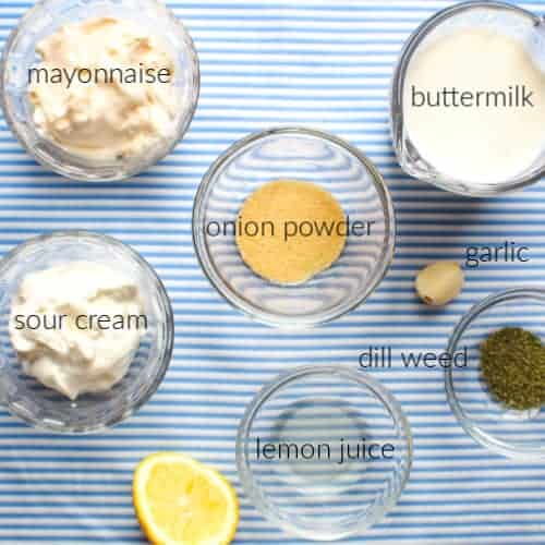 Ingredients for Homemade Buttermilk Dill Salad Dressing