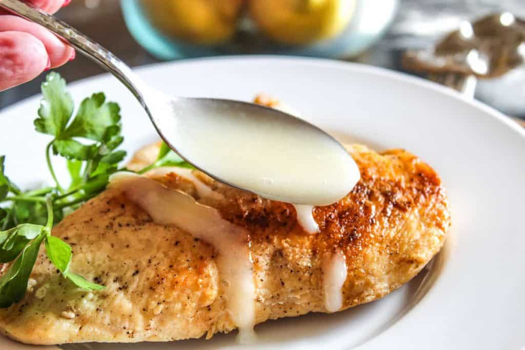 Lemon Sauce drizzled over chicken breast