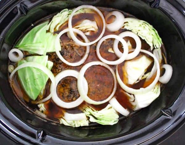 Corned Beef and Cabbage in slow cooker