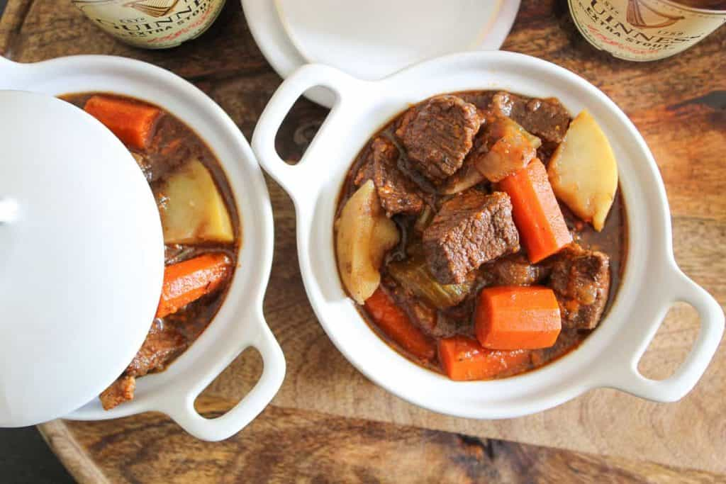 Overhead shot of two bowls of Irish Guinness Beef Stew