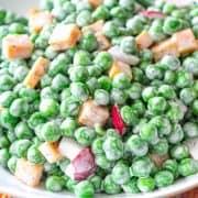 English Pea Salad in white bowl