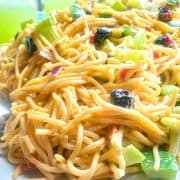 Vermicelli Summer Salad on white plate