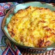 Pineapple casserole in turquoise baking dish